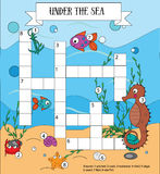 Crossword educational children game with answer. Sea, marine life and animals theme Stock Photography