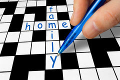 Crossword - family and home Royalty Free Stock Photos