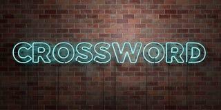 CROSSWORD - fluorescencyjny Neonowej tubki znak na brickwork - Frontowy widok - 3D odpłacający się królewskość bezpłatny akcyjny  Obraz Stock