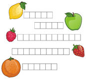 Crossword and fruits Royalty Free Stock Photos