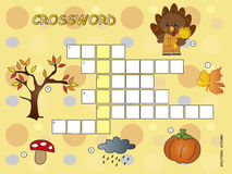 Crossword. Game for children for autumn Stock Photography