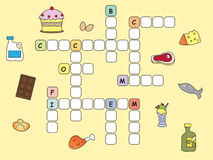 Crossword. Game for children: easy crossword with food Royalty Free Stock Photos