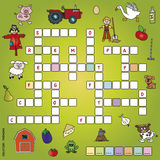 Crossword. Game for children: crossword with illustrations Stock Photos