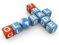 Crossword of global trade. 3d render of 'global trade' crossword Stock Photography