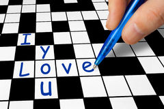 Crossword - I love you. Hand filling in a crossword - I love you Royalty Free Stock Images