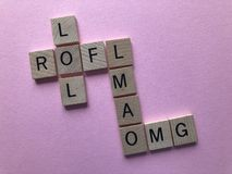 Crossword of internet slang words stock photography