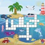 Crossword kids magazine book puzzle game of sea underwater ocean fish and animals logical worksheet colorful printable vector Illu. Crossword kids magazine book Stock Photos