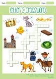 Crossword letter C game template vector illustration