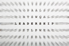 Crossword letters, focus on word leadership Royalty Free Stock Images