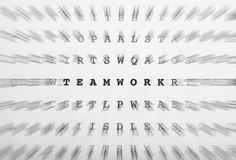 Crossword letters, focus on word teamwork Stock Image