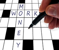 Crossword money and work Royalty Free Stock Image