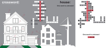 Crossword parts of house and construction Stock Photos