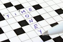 crossword pieniądze czas Zdjęcie Royalty Free