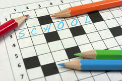 Crossword. Popiera szkoła Obrazy Royalty Free