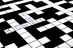 Crossword puzzle. A shot of a crossword puzzle with words on it Royalty Free Stock Photography