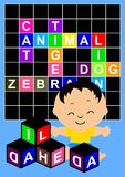 Crossword Puzzle. Happy little boy playing with crossword puzzle stock illustration