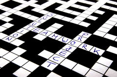 Crossword puzzle. A shot of a crossword puzzle with words on it Royalty Free Stock Image