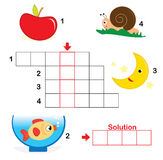 Crossword puzzle for children, part 1. Colorful crossword puzzle game for kids: The child has to write down the name of the illustrations in the blank squares Royalty Free Stock Photography