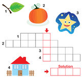 Crossword puzzle for children, part 3. Colorful crossword puzzle game for kids: The child has to write down the name of the illustrations in the blank squares Royalty Free Illustration