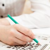 Crossword puzzle close-up Stock Image