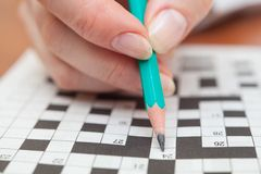 Crossword puzzle close-up Stock Photo