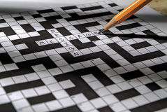 Crossword puzzle close-up. Write message design Stock Image