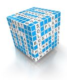 Crossword puzzle cube with business words, 3d Royalty Free Stock Photos