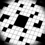 Crossword Puzzle Game Close Up. A close up, macro shot, of a crossword puzzle game Royalty Free Stock Photos
