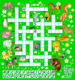 Crossword puzzle game with funny animals. Educational page for children for study English words. Royalty Free Stock Photos