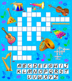 Crossword puzzle game with musical instruments. Educational page for children for study English words. Stock Images
