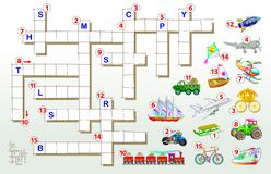 Crossword puzzle game with transport. Educational page for children for study English words. Vector cartoon image. Vector image. Developing children skills for vector illustration