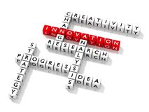 Crossword puzzle with innovation keywords business concept. 3D illustration Stock Photo