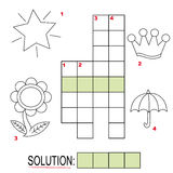 Crossword puzzle for kids, part 3. Crossword puzzle game for kids: The child has to write down the name of the illustration in the blank squares and find the Royalty Free Stock Images
