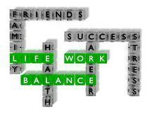 Work life balance crossword puzzle with glass cubes Stock Images