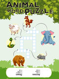 Crossword puzzle with many animals Stock Photography