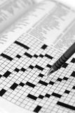 Crossword Puzzle with Pen Royalty Free Stock Image
