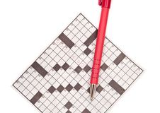Crossword Puzzle with Pen Stock Photos