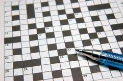 Crossword puzzle & pen Stock Image