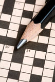 Crossword Puzzle & Pencil Royalty Free Stock Photos