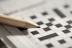 Crossword puzzle and pencil Stock Image
