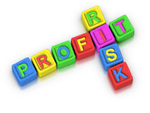 Crossword Puzzle : PROFIT RISK Stock Photos