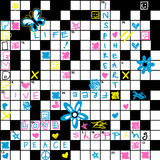 Crossword Puzzle With Flowers And Symbol Seamless Pattern Royalty Free Stock Photography