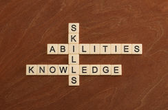 Free Crossword Puzzle With Words Skills, Abilities, Knowledge. Learni Stock Image - 92581321