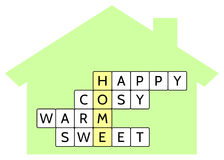 Crossword puzzle for the word Home and words Happy, Cosy, Warm, Sweet Stock Photography