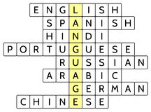 Crossword puzzle for the word Language and 8 of the most widely spoken languages of the world Royalty Free Stock Photography