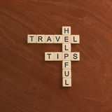 Crossword puzzle with words Helpful Travel Tips. World travel co Stock Photos