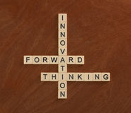 Crossword puzzle with words Innovation, Forward, Thinking. Innov Stock Image