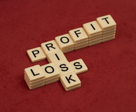 Crossword puzzle with words Risk, Profit and Loss. Risk manageme Stock Photography