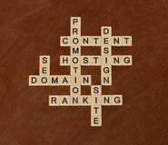 Crossword puzzle with words SEO, Content, Site, Ranking. Web Sit Royalty Free Stock Images