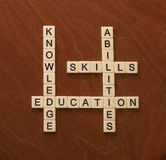 Crossword puzzle with words Skills, abilities, knowledge and edu. Cation. Learning concept. Ivory tiles with capital letters on mahogany board Royalty Free Stock Photography